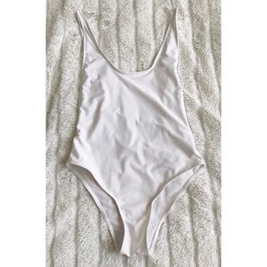 White High Cut Open Side Bathing Suit L